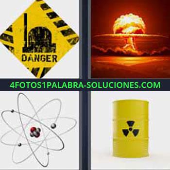4 Fotos 1 Palabra - siete-letras danger cartel. Explosión bomba. Electrones y protones. Barril amarillo peligroso contaminación.