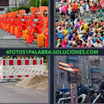 4 Fotos 1 Palabra - vallas carretera. Aglomeración de gente. Obras en la ciudad. Barrera o parapeto defensivo y bandera.