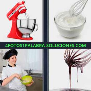 4 Fotos 1 Palabra - cuatro-letras chocolate derretido o fundido. Haciendo nata. Chef cocinera batiendo la comida. Chocolate líquido. Electrodoméstico rojo.