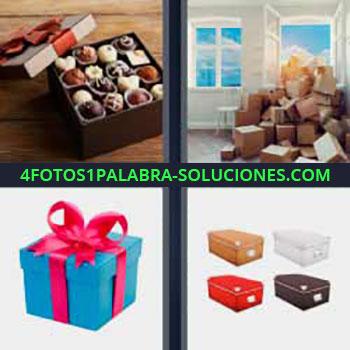 4 Fotos 1 Palabra - seis-letras bombones. Cajas de cartón amontonadas en una casa. Regalo con lazo rojo. Cajones de colores para archivar documentos.