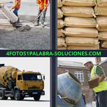 4 Fotos 1 Palabra - seis-letras concreto o hormigón. Pila de sacos. Camión de la obra o construcción. Hormigonera o máquina para hacer concretro.
