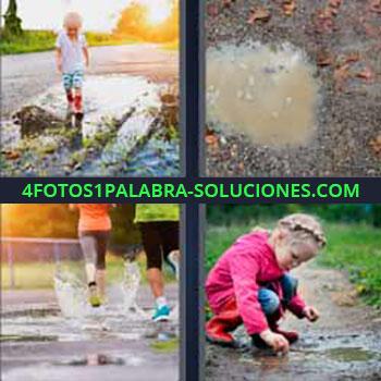 4 Fotos 1 Palabra - seis-letras botas de agua niños. Barro o lodo. Corriendo sobre agua. Niña jugando con el barro.