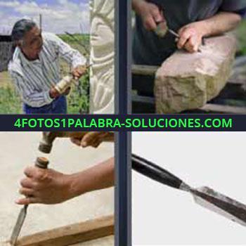 4 Fotos 1 Palabra - ocho-letras escultura de piedra. Escultor. Tallando un piedra. Carpintero o ebanista.