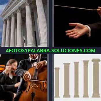 4 Fotos 1 Palabra - ocho-letras director de música u orquesta. Edificio antiguo con columnas. Tocando el violoncello. Diferentes tipos de pilares antiguos.