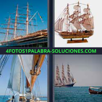 4 Fotos 1 Palabra - seis-letras carabela. Barco vela. Galeón. Velero grande. Barco antiguo de guerra.
