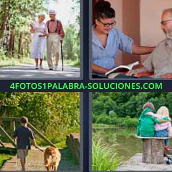4 Fotos 1 Palabra - pareja paseando. Matrimonio mayor caminando. Leyendo libro a hombre. Niño con un perro. Dos niñas amigas abrazadas frente a lago.