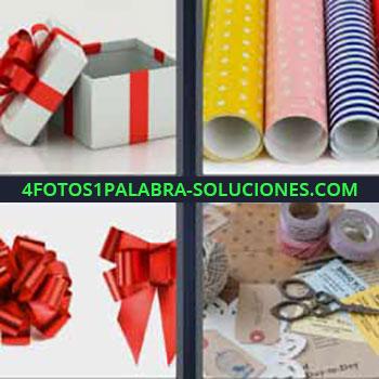 4 Fotos 1 Palabra - siete-letras cajas regalo. Rollos papel regalo. Moño o lazo rojo. Tijeras hilos, etc.
