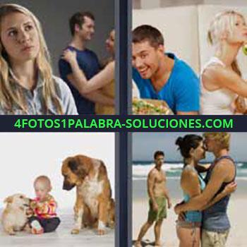4 Fotos 1 Palabra - cinco-letras bebe con 2 perros. Chica rubia pensando. Chico se lleva pizza. Hombre celoso de pareja.
