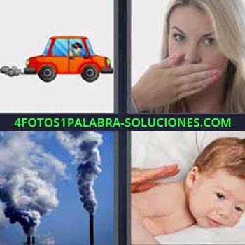 4 Fotos 1 Palabra - siete-letras carro humo. Coche echando humo. Mujer mano en la boca. Chimeneas contaminando. Bebe.