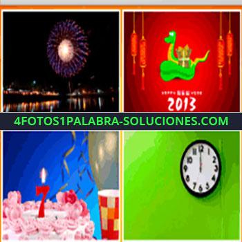 4 Fotos 1 Palabra - reloj casi las 12, fuegos artificiales, calendario, gente celebrando, 2013
