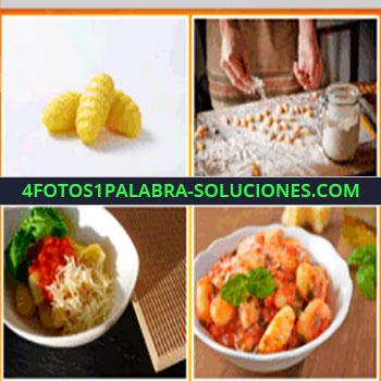 4 Fotos 1 Palabra - pasta seca, plato de pastas, gnocchi, manos amasando