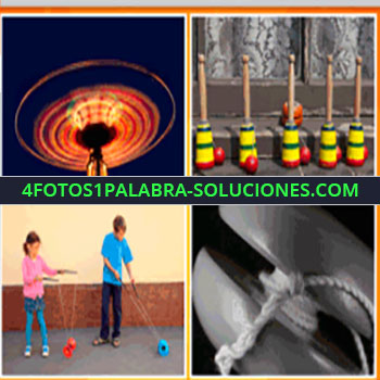 4 Fotos 1 Palabra - niños jugando en la calle, juego de feria, balero, nudo y soga