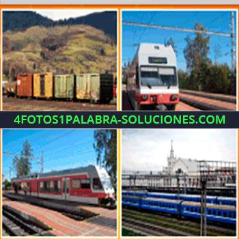 4 Fotos 1 Palabra - tren de carga, vagones, estación