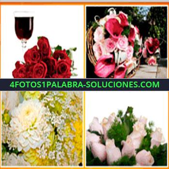 4 Fotos 1 Palabra - rosas rojas, vino, racimo de flores, rosas de muchos colores