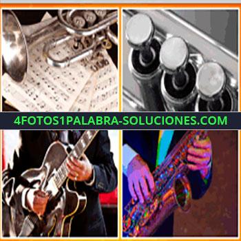 4 Fotos 1 Palabra - trompeta. Saxofón. hombre tocando instrumentos de viento. Tuba.