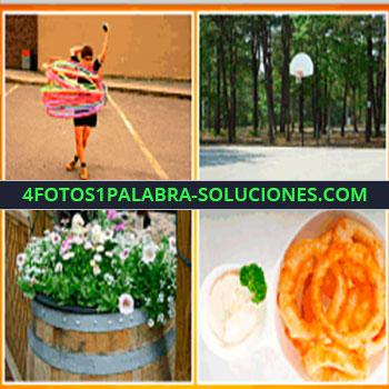 4 Fotos 1 Palabra - Niño jugando con anillos grandes, plantas con flores, basquet