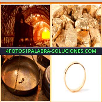 4 Fotos 1 Palabra - minero caminando en una mina, piedras preciosas, anillo o alianza dorada, balanza