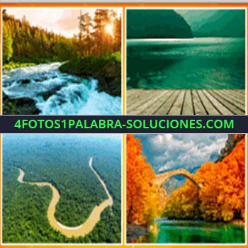 4 Fotos 1 Palabra - cauce de agua, catarata sobre cauce de agua, laguna, montañas, deck, muelle