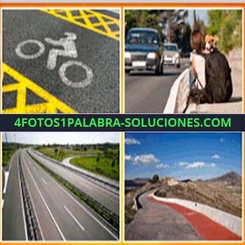 4 Fotos 1 Palabra - señal de bicicleta, Ruta o autopista, niña o niño con perro, montañas