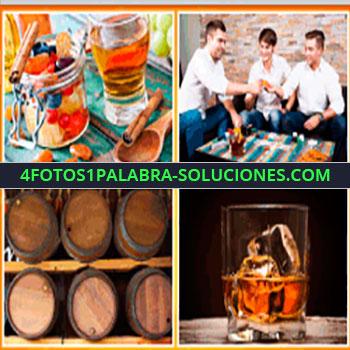 4 Fotos 1 Palabra - bodega, barriles con alcohol, amigos brindando, canela, baso con whisky