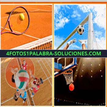 4 Fotos 1 Palabra - tenis, arco, portero atajando, fútbol, soccer, aro de básquet