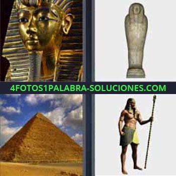 4 Fotos 1 Palabra - cuatro-letras Cuatro fotos una palabra estatuas egipcios. Tumba egipcia. Pirámide de Egipto. Dibujo hombre egipcio antiguo.