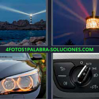 4 Fotos 1 Palabra - cuatro-letras focos. Luces fuertes desde una torre. Faro iluminado. Luces delanteras de un coche o auto. Interruptor de las luces del carro en automático.