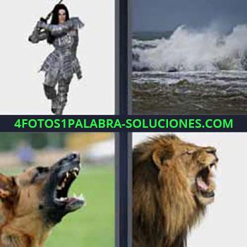 4 Fotos 1 Palabra - siete-letras guerrero con espada. Olas del mar. Perro ladrando. León rugiendo con la boca abierta.