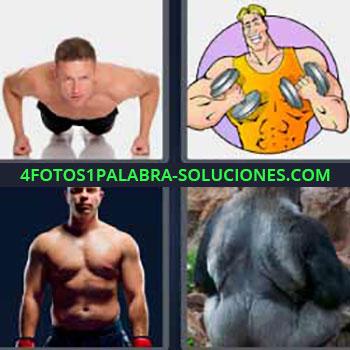 4 Fotos 1 Palabra - cinco-letras hombre haciendo flexiones. Dibujo haciendo pesas con mancuernas. Chico fuerte haciendo deporte. Gorila de espaldas.