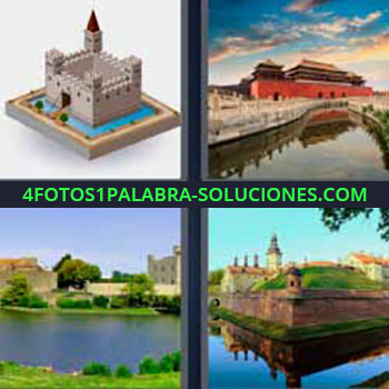 4 Fotos 1 Palabra - seis-letras fortaleza rodeada de agua. Castillo antiguo. Río y palacio. Lago con una mansión.