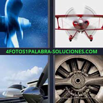 4 Fotos 1 Palabra - cuatro-letras aspas. Avioneta roja volando. Motor avión. Turbinas.