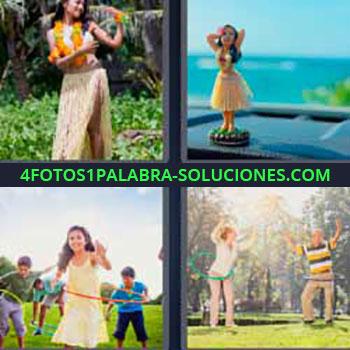 4 Fotos 1 Palabra - seis-letras hawaiana. Muñeca sobre el salpicadero del coche. Niña jugando con un hula hoop. Hombre y mujer girando aro.