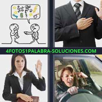 4 Fotos 1 Palabra - seis-letras hombre con mano en el pecho. Viñeta dibujo. Mujer con mano izquierda levantada. Chica conduciendo enojada.