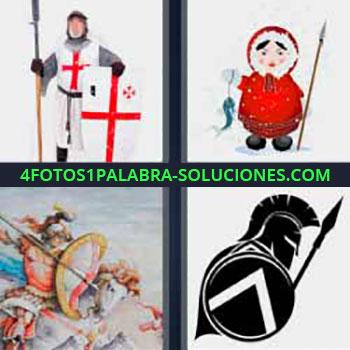 4 Fotos 1 Palabra - seis-letras guerrero cruzado. Soldados de la antigüedad. Guerreros con escudos. Luchando a caballo.