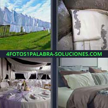 4 Fotos 1 Palabra - telas restaurante. Cultivo cosechado y tapado. Telas. Restaurante de lujo. Cama.