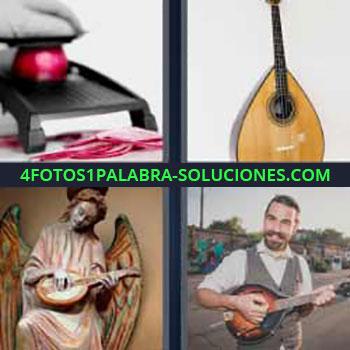 4 Fotos 1 Palabra - seis-letras guitarra pequeña. Rallando cebolla roja. Bandurria. Laúd o vihuela. Instrumento parecido a un ukelele.