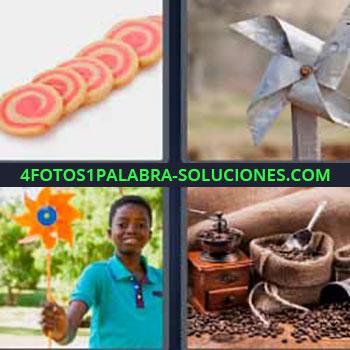4 Fotos 1 Palabra - niño jugando con rehilete o molinete. Galletas redondas pequeñas. Moliendo granos de café. Remolino, renglete o reguilete.