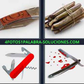 4 Fotos 1 Palabra - cuatro-letras cuchillo. Cuchilla afeitar con sangre. Navaja multiusos suiza. Mejillones.