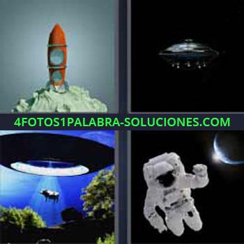 4 Fotos 1 Palabra - ovni. Maqueta de cohete. Nave extraterrestre abduciendo a una vaca. Astronauta en el espacio.