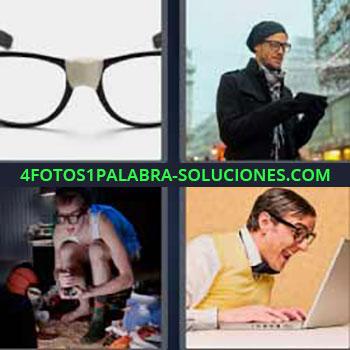 4 Fotos 1 Palabra - siete-letras gafas rotas arregladas. Imágenes de chicos con lentes. Jugando a la play o xbox. Hombre de lentes grandes con la computadora o laptop.