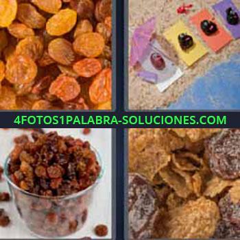 4 Fotos 1 Palabra - siete-letras frutas secas. Uvas secas. Sultanina o sultana. Ciruelas secas. Cereales.