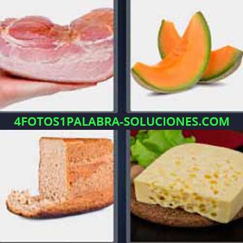 4 Fotos 1 Palabra - melón o papaya en rodajas. Carne o jamón. Pan de molde. Trozo de queso.