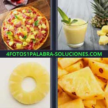 4 Fotos 1 Palabra - pizza. Zumo o batido de fruta en vaso. Rodaja de fruta amarilla ananá. Fruta partida.
