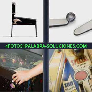 4 Fotos 1 Palabra - siete-letras máquina de juego clásica. Disco y palas. Niño jugando a máquina recreativa.
