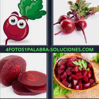 4 Fotos 1 Palabra - seis-letras fruta roja. Dibujo fruta roja con ojos. Cebollas pequeñas. Betarraga. Tubérculo.