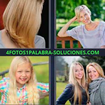 4 Fotos 1 Palabra - mujer con pelo rubio. Niña sonriendo mellada sin diente. Imágenes chicas o señoritas.