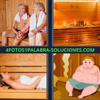 4 Fotos 1 Palabra - cinco-letras baño de vapor. Señor y señora baño turco. Dibujo calor. Sudadero. Vaporario. Tomando sauna.