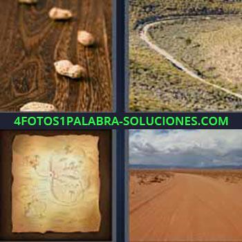 4 Fotos 1 Palabra - seis-letras cacahuates o maní sobre una mesa. Camino en el campo. Mapa antiguo. Desierto de arena.