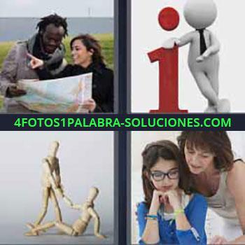 4 Fotos 1 Palabra - cuatro-letras ayudando con mapa a hombre. Muñeco e i de información. Profesora explicando a niña.