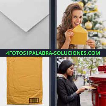 4 Fotos 1 Palabra - siete-letras carta. Chica cerrando carta. Envoltorio paquete envío. Mujer echando carta a buzón de correos.